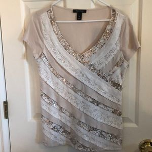 WHBM tee with lace and sequins